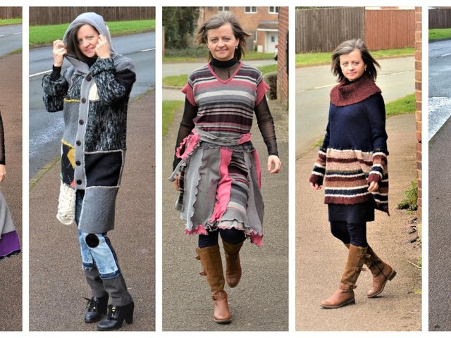 Olesya, pictured in her handmade dresses and a coat, which were made from discarded jumpers.