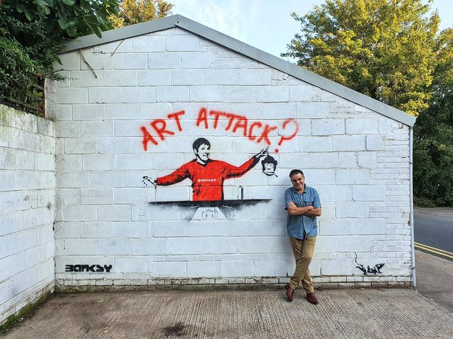 Allan Levy was delighted to find his driveway had been visited by a Banksy-loving street artist.