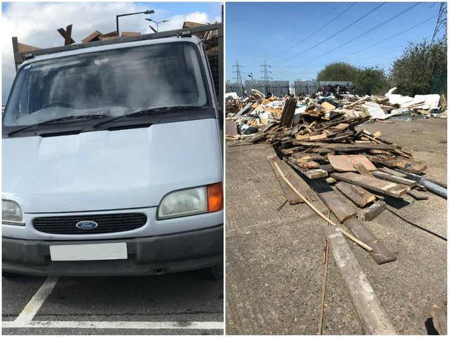 Kathleen Stokes' van and the waste that was illegally dumped in Edmonton, London. Photos: Environment Agency