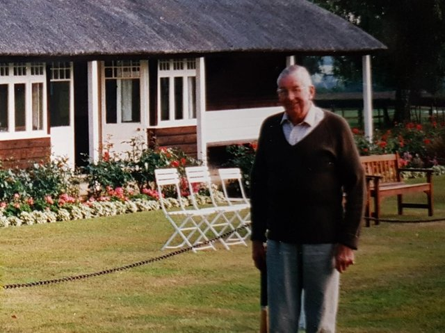 Captain Richard Henry 'Dick' Hawkins in front of the pavilion at Everdon Hall