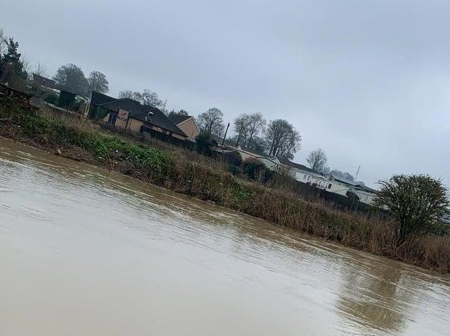 The river levels next to Cogenhoe Mill caravan site. Photo: Harvey Sambridge