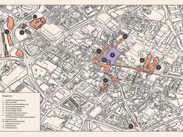 A map of Northampton town centre with the schemes included in the town investment plan highlighted