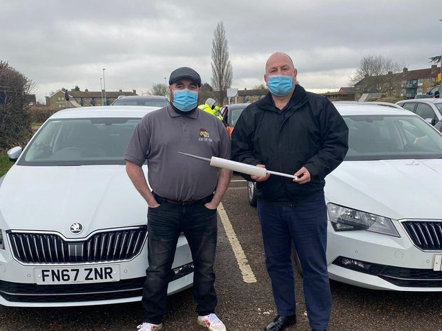 Freddie Fudge of Flat Cap Cabs (left) and Nick Metaxas of Holcot Cars, who are offering free taxi rides for coronavirus vaccination appointments