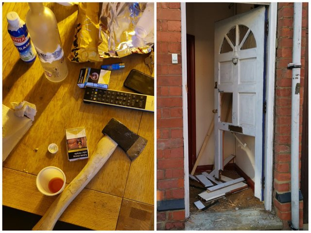 An axe was among the items seized after police smash their way into two cannabis farms in Kettering. Photos; @KetteringPolice