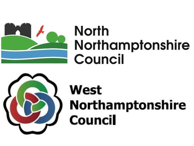 The new logos for North and West Northamptonshire councils