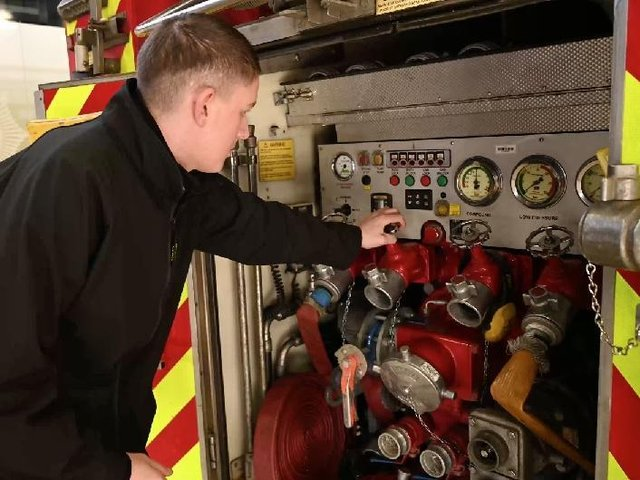 Ashley Hunt works at Morrisons but is also part of Northamptonshire Fire's 200-strong on-call firefighters
