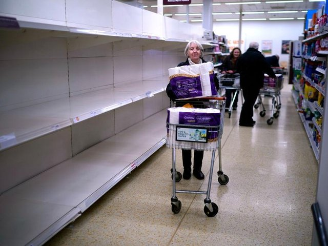 Supermarket shelves in Northampton were left bare of essentials such as toilet rolls. Photo: Getty Images