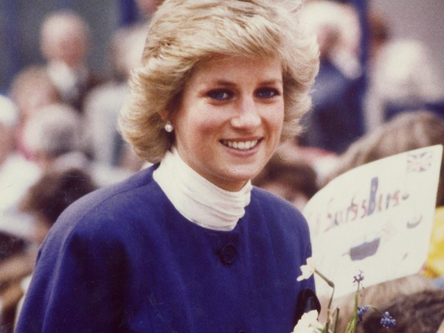 Princess Diana in Wellingborough at a visit to Saxby's