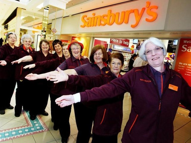 Sainsbury'; s (Grosvenor centre) re-opens after a 12 day refit. Long serving staff members help with the opening of the store....Names & Service front-back: Valetta Maycock (40), Kay Isles (39), Janice Cave (38), Margaret Stonton (31), Mary Kiely (31), Chris Grant (30), Helen Ludlow (30), Heather Simmons (29), Linda Gibbons (28)