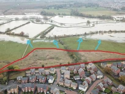 A drone image taken by a local resident was sent in as part of the objections to highlight the recent flooding on the land in question