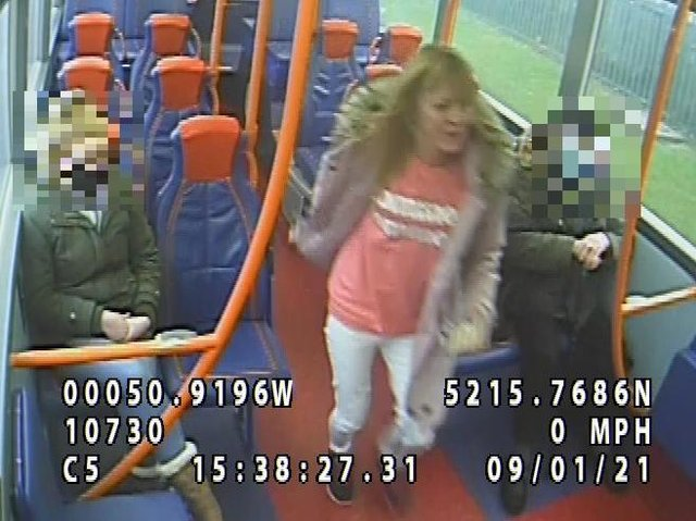 Police want to trace the woman wearing a pink coat and top captured by CCTV on the No16 bus