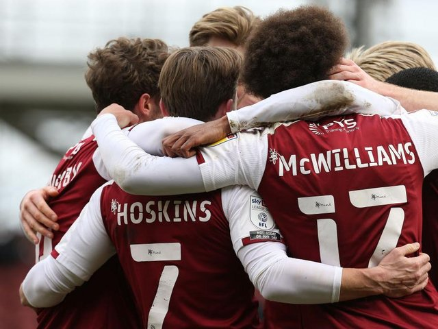 ALL TOGETHER: Cobblers made it back-to-back wins for the first time this season on Saturday. Pictures: Pete Norton.