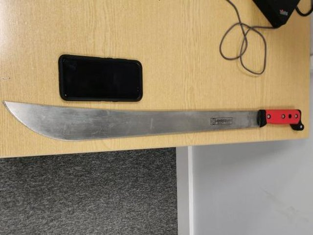 This is the machete police found being carried by a 14-year-old boy in Kings Heath last night