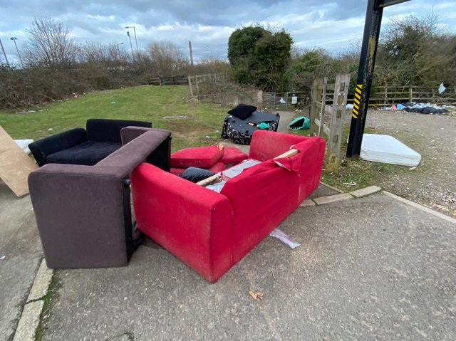 Fly-tipping outside the entrance to Stornton Pits in Sixfields, Northampton. Photo: Leila Coker