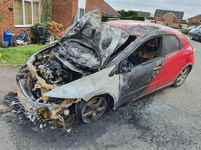 Justin Kirk's family car was set alight outside their home on March 4.