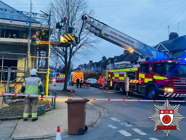Fire crews used specialist arial equipment to reach the stranded man. Photo: Northants Fire & Rescue Service