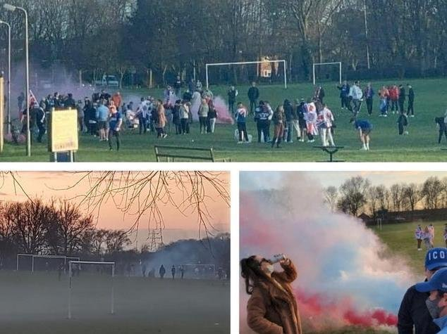 Rangers fans headed to Corby park to celebrate their team's title glory — despite breaching lockdown laws