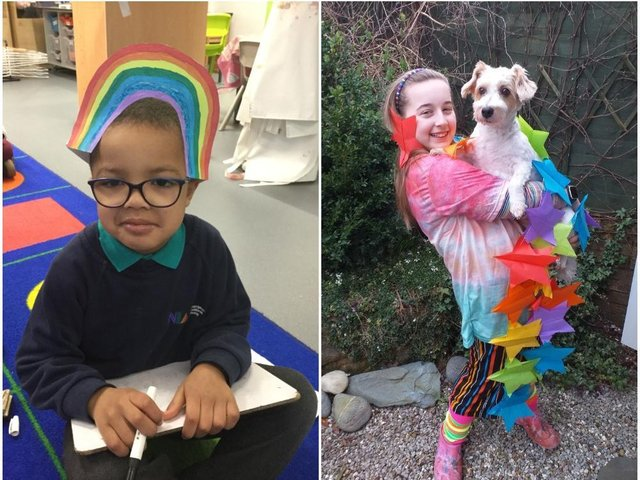 Both in-school and at-home pupils got involved with the rainbow-themed mufti day at Northampton International Academy. Photos: East Midlands Academy Trust