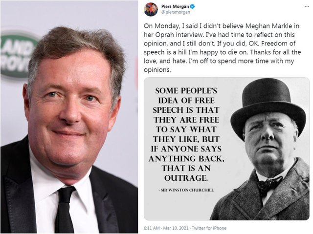 Piers Morgan sticking by his controversial statement this morning alongsiide a quote on free speech by Winston Churchill. Photo: Getty IMages