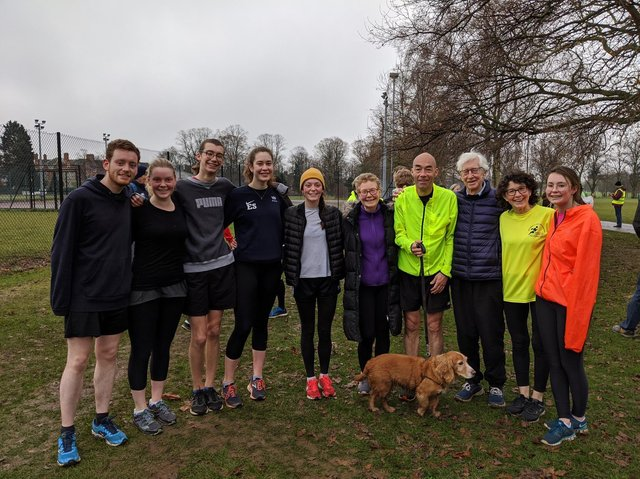 Roger (third from the right) attended his first parkrun in 2019 at the age of 92.