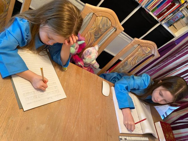 Carly and Lydia have been working successfully from home for months with their mum and were excited but a little anxious about heading back to the school gates.