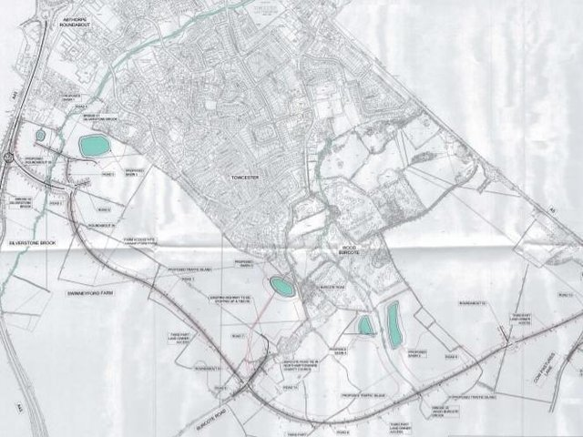 A drawing of where the Towcester relief road will be built between the A5 and A43 to the south of the town