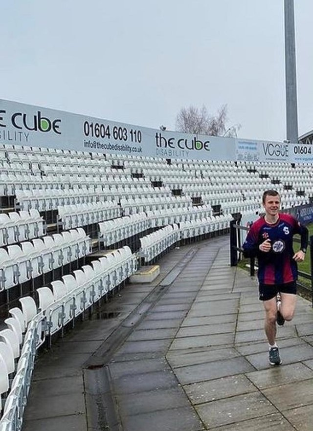 Ben Hope runs around the County Ground as part of his February Challenge