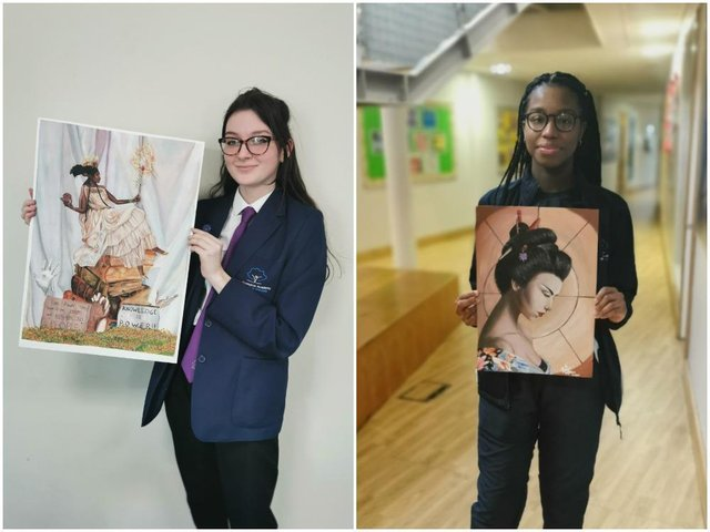 Northampton Academy Year 11 students Anastasija (left) and Morenike came first and second in United Learning's annual art contest