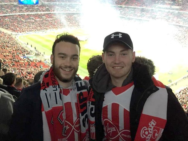 Southampton Football Club fans Sam Joyce (left) and Dean Montgomery