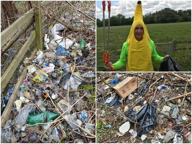 Kevin Doherty, who calls himself Banana Man Litter Warrior on Twitter, posted several photos of the rubbish in woodland next to the M1 southbound service station at junction 15a for Northampton