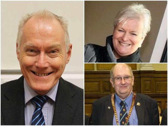 Northampton borough councillors Tim Hadland (left), Sally Beardsworth and Phil Larratt will receive the honorary freedom of the borough