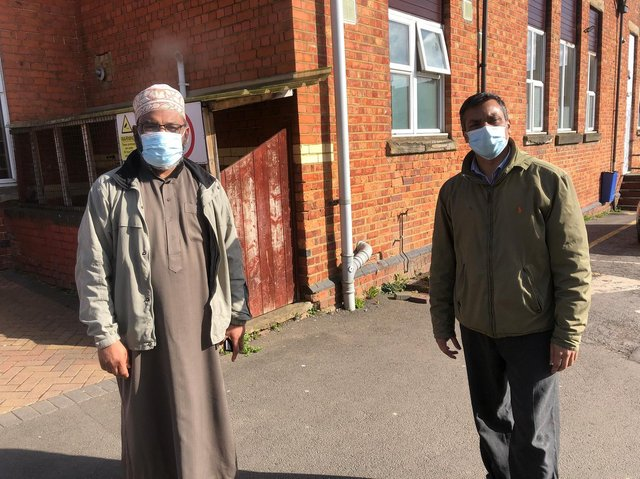 Councillor Anamul 'Enam' Haque (right) with Northampton Mosque and Islamic Centre imam Abdur Razaq