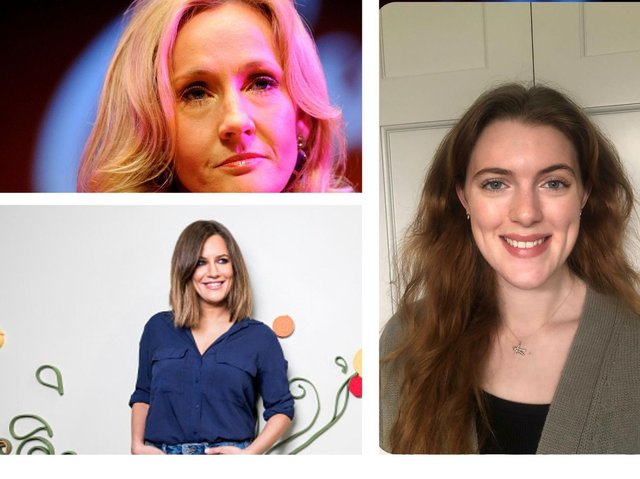 Joanne Rowling (top) and Caroline Flack (bottom) (Images: Getty) and Grace Duval (right) (Image: Birmingham City University)