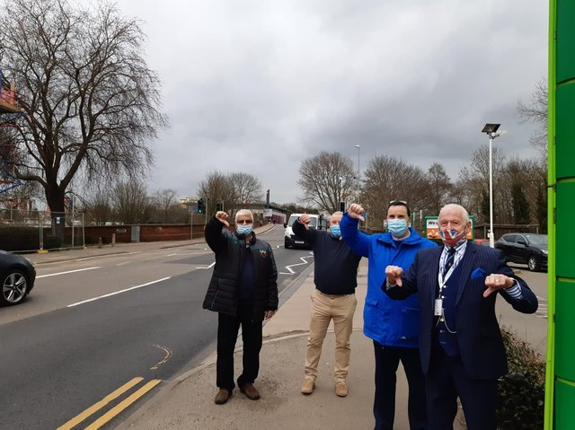 The four are unhappy with the new 24-hour bus lane and its enforcement camera