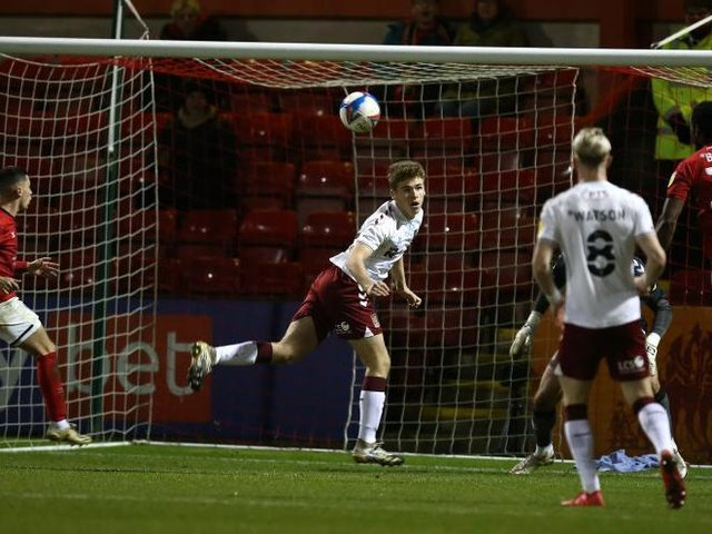 Max Dyche made his Cobblers debut in the reverse fixture.