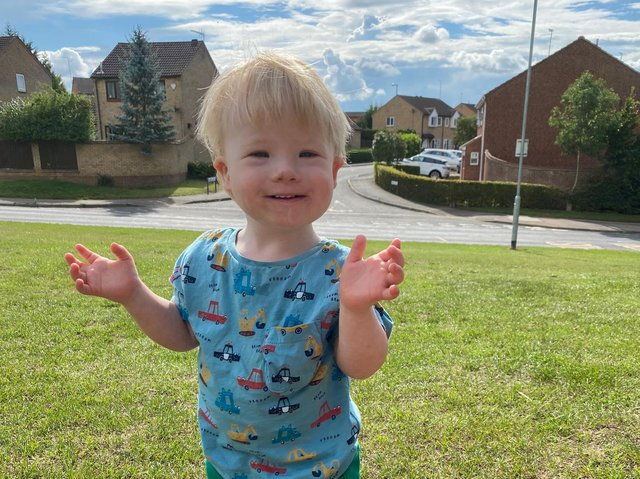 Samuel is two-and-a-half and has Down Syndrome.