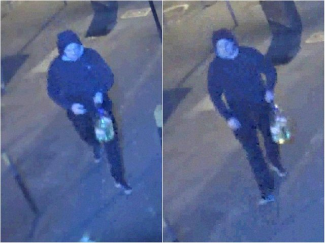 Police have released two images of a man they want to speak to in connection with the arson.