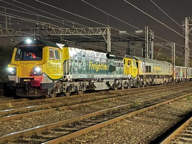 Two locos hauled the massive 'jumbo train' through Northamptonshire during the early hours of Thursday morning