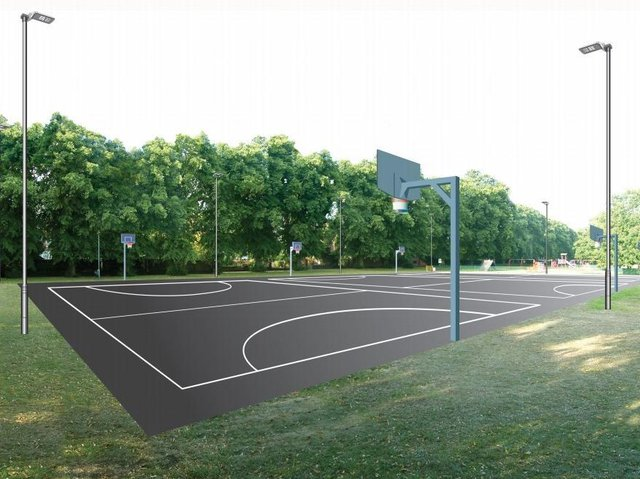 An artist's impression of how the new basketball court would look