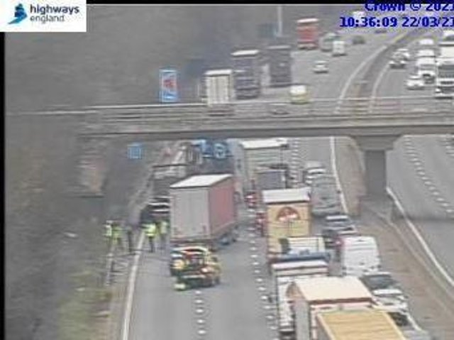 Highways England jam cams showed the scene of the shunt at just after 10.30am on Monday