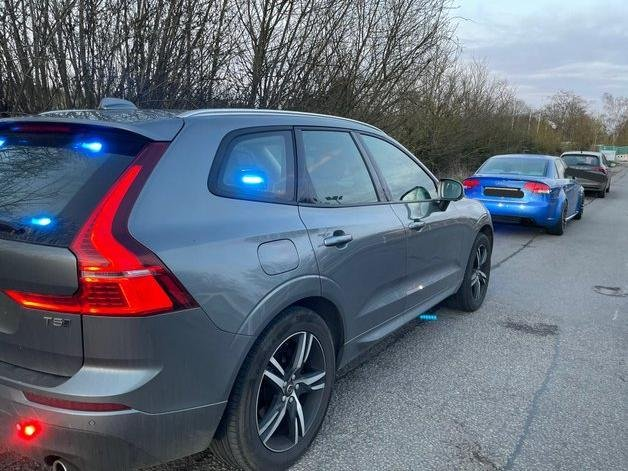 The driver of this speeding Audi RS4 is heading to court after also failing a drug test after being stopped on the M1. Photo: @Northants_RPU