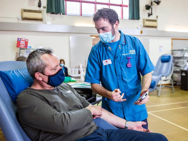 Adam Ogden donated his 100th pint of blood yesterday (March 22). Photo: Kirsty Edmonds.