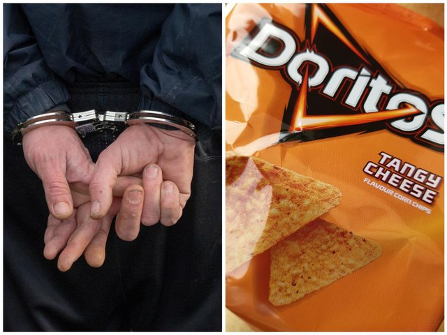 Lawrence, 25, was jailed for assaulting a police constable and attempting to steal a packet of Doritos