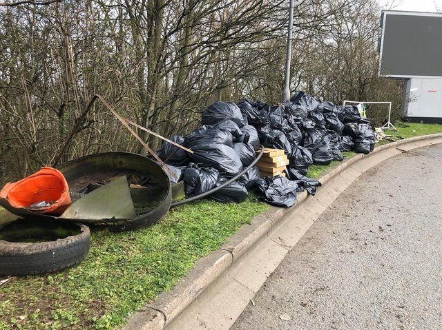 The rubbish bags and litter collected from the woodland next to the service station at junction 15A of the M1 near Northampton