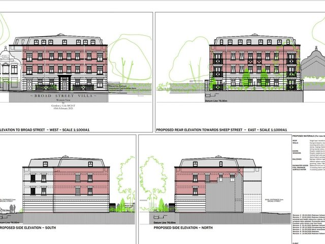Drawings of the plans. The main pedestrian entrance is taken from Broad Street.