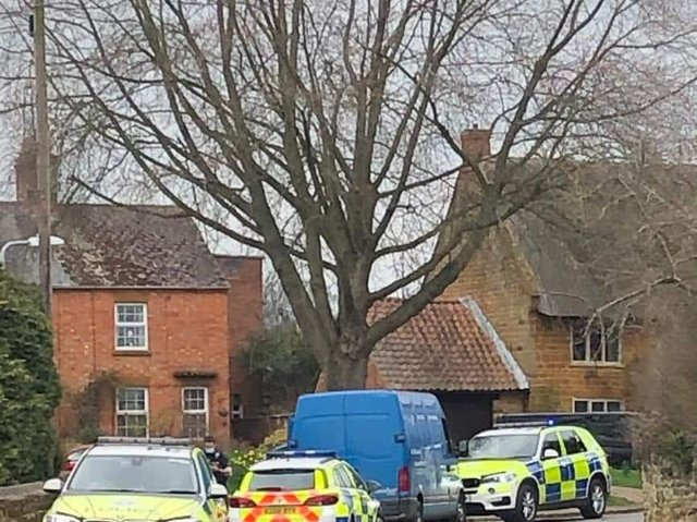 Three police cars intercepted the blue van in Harpole today (Wednesday)