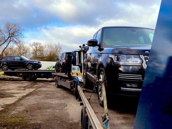 Police hit a hat-trick after uncovering three stolen Range Rovers in a Northamptonshire yard. Photo: xxxx