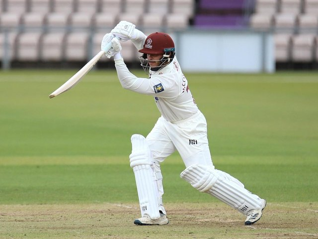 Ricardo Vasconcelos hits a boundary on his way to 30 from 44 balls before retiring on the first day of the County's pre-season friendly at Hampshire (Picture: Peter Short)