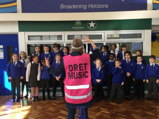 A music lesson at Eastfield Academy in Northampton
