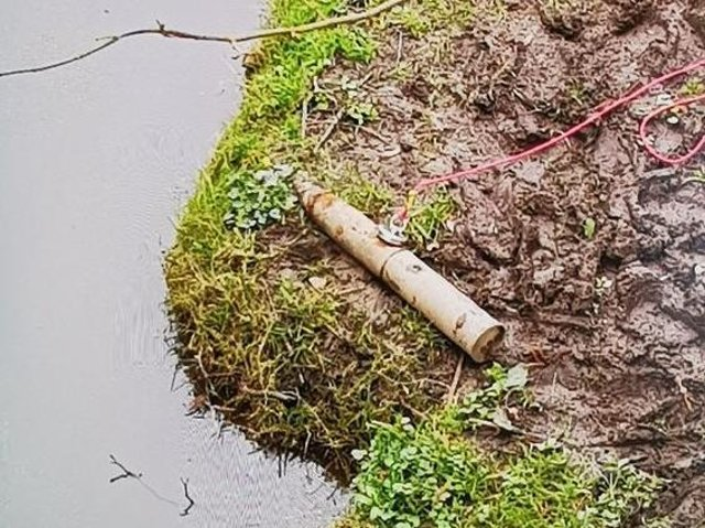Magnet anglers trawled this World War Two shell out of the River Avon on Saturday lunchtime. Photo: @NptonResponse